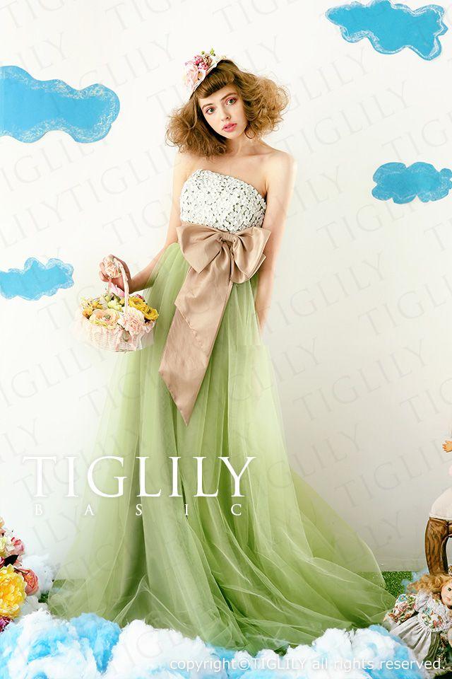 楽天市場 ウェディングドレス ウエディングドレス カラードレス Aライン Tiglily Basic Cb002 ブライダルアモーレ カラードレス グリーン ウエディングドレス カラー ドレス