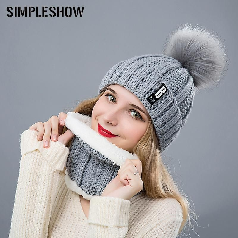 46fa5d9b8f4 Fashion Pompoms Women Winter Hat Scarf Set Girls Boys Warm Knitted Caps  Scarves Men Female Sets 2 Pieces Unisex Hats Scarves  pretty  cool  swag   fashion ...