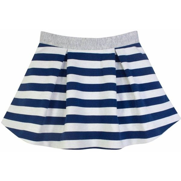 Chateau De Sable - French Designer Striped Skater Skirt ($44) ❤ liked on Polyvore featuring skirts, blue skater skirt, circle skirt, cotton skirts, blue skirt and cotton jersey