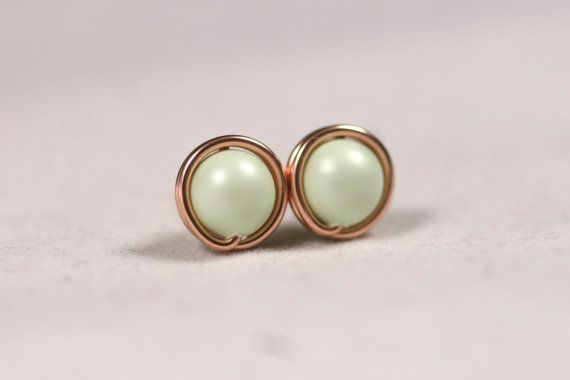 Rose Gold Light Green Pearl Stud Earrings by JessicaLuuJewelry