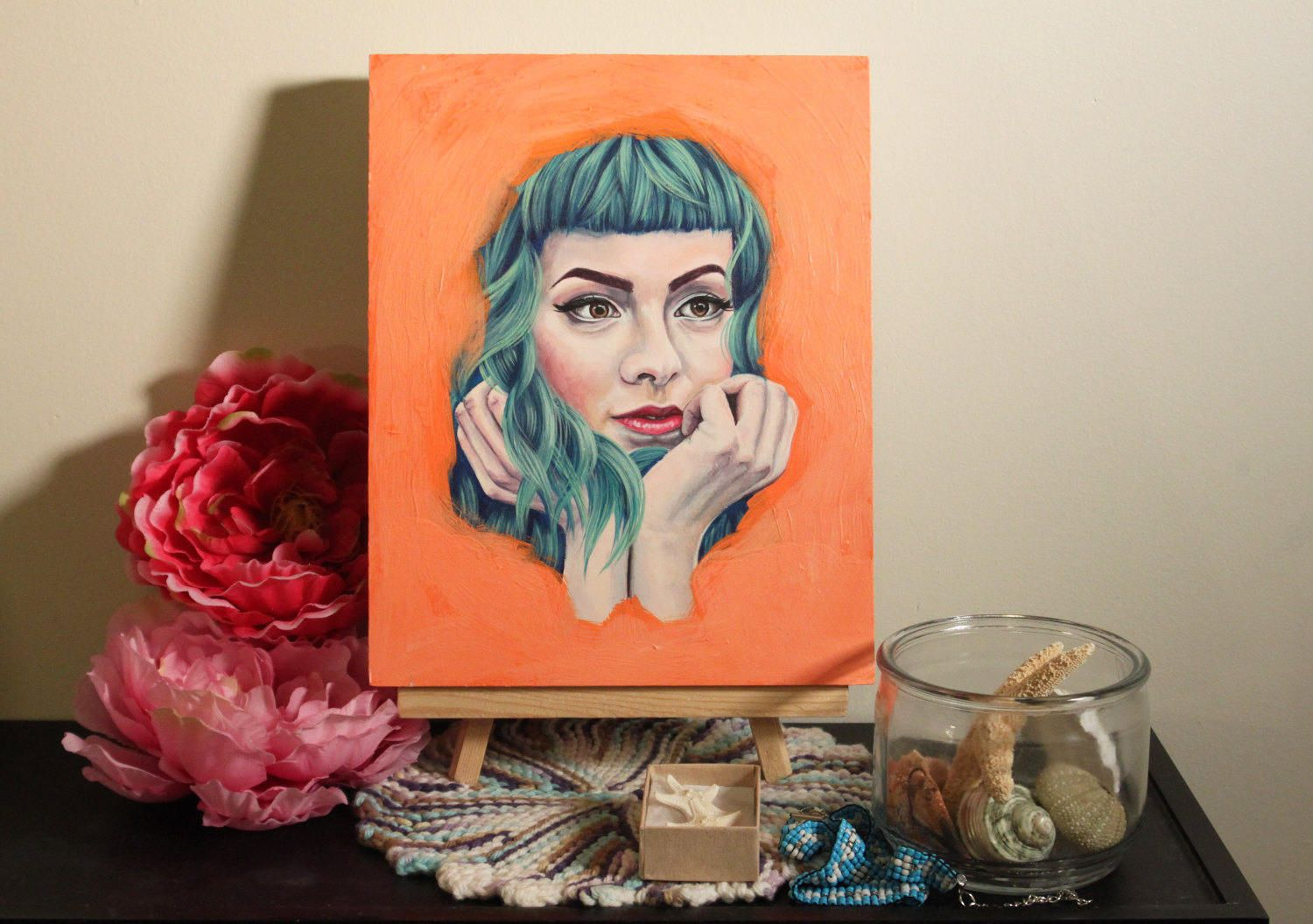 Dream Girl, 8 x 10 acrylic portrait painting by EHollingsheadArtwork on Etsy