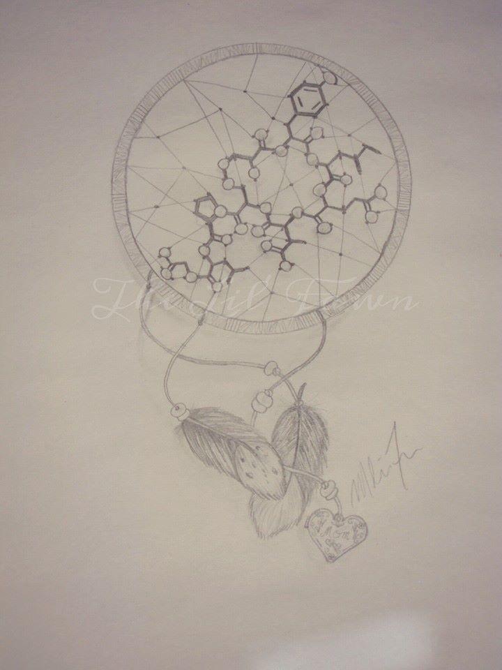 "Photo of Drawing by: Melissa Ferrier. ""Oxytocin molecule/ dreamcatcher tattoo. Personaliz…"
