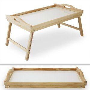 Vassoio da letto 50 x 33 cm pieghevole legno naturale ...