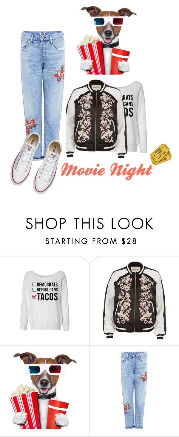 """""""Movie night"""" by a-braizat ❤ liked on Polyvore featuring River Island, Citizens of Humanity and Converse"""