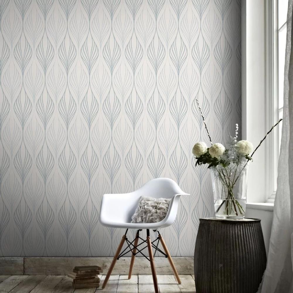 Optimum White and Duck Egg Wallpaper Blue Wallpaper