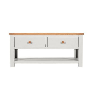 debenhams oak and grey painted 'chiswick' coffee table with 2