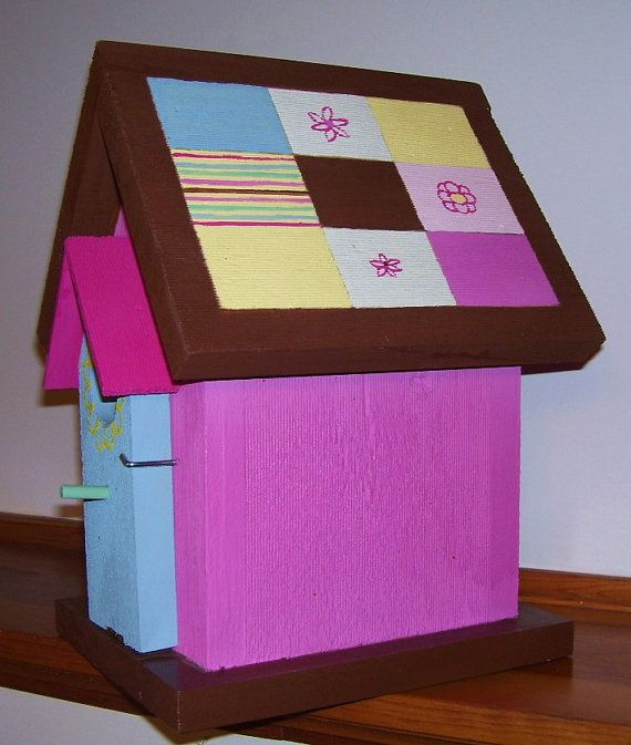 Pink Quilt Birdhouse by PineTreeBirdhouses on Etsy, $45.00