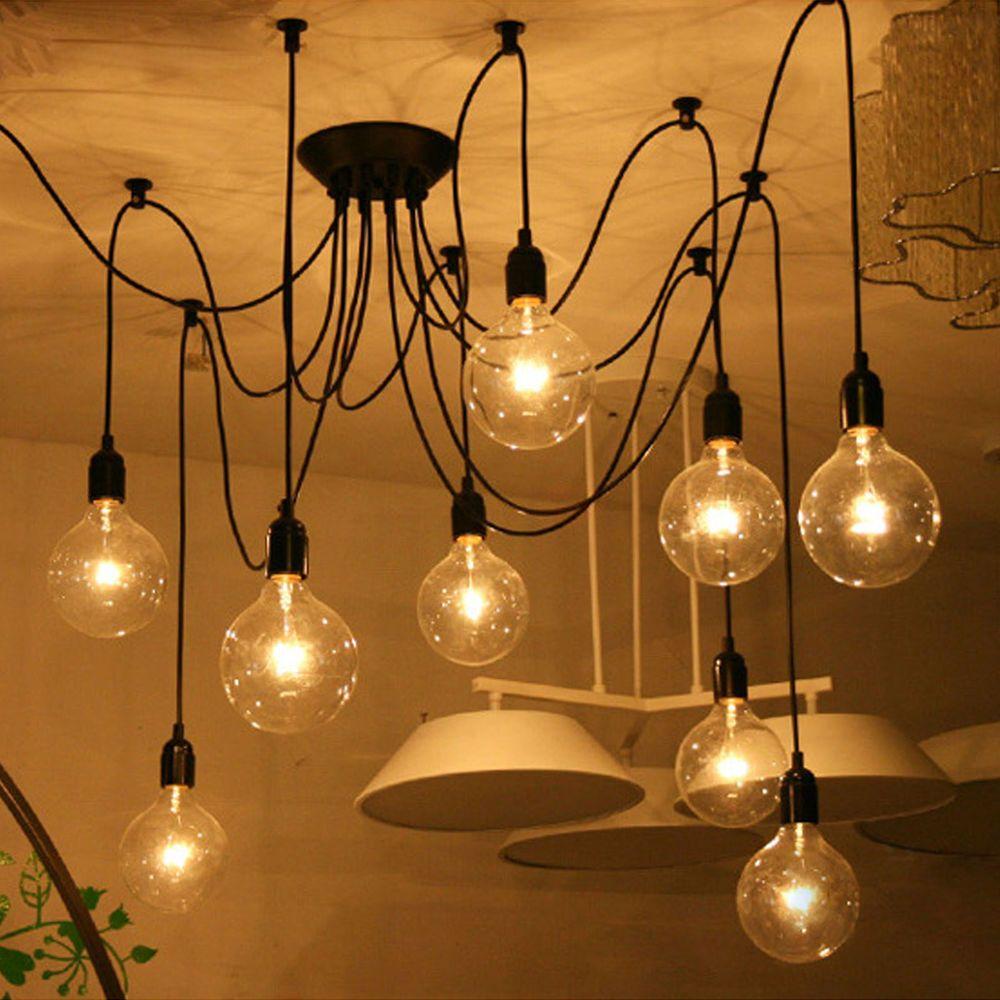 DIY Loft Retro Industrial Iron Pipe Vintage Ceiling Light Pendant Lamp  Fixture