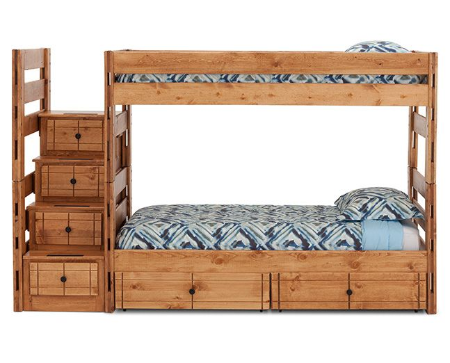 Durango Bunk Bed With 6 Storage Drawers And Steps 915 Bunk Beds With Storage Rowe Furniture Bunk Beds