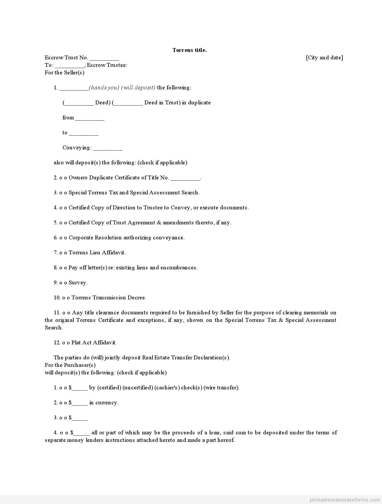 Sample Printable Torrens Title  Form  Sample Real Estate Forms