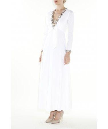 Vintage Fashion 1970's Lillie Rubin White Embellished V Neck Gown #thegatheringgoddess #1970's #purevintagejoy