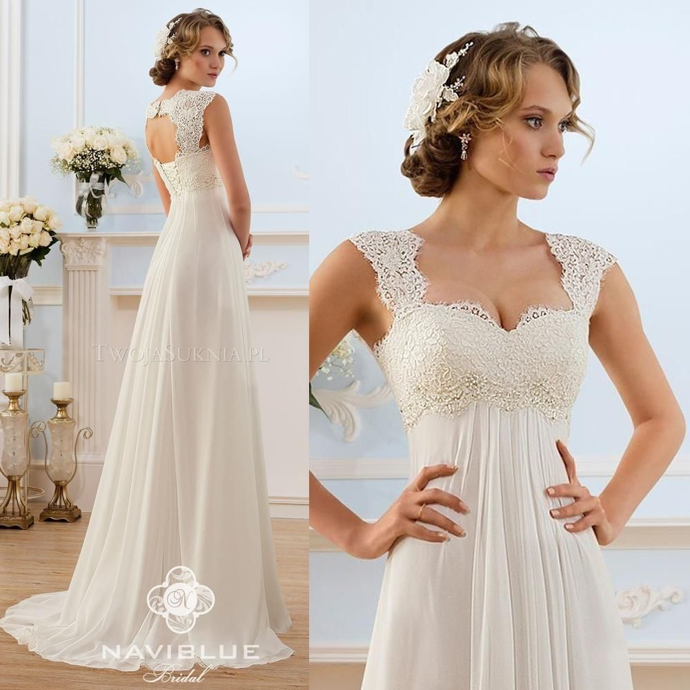Cheap 2015 Chiffon Maternity Wedding Dresses Open Back A Line Lace ...