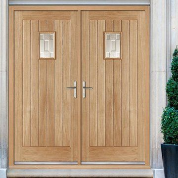 Suffolk Oak External Double Door And Frame Set With Frosted Double