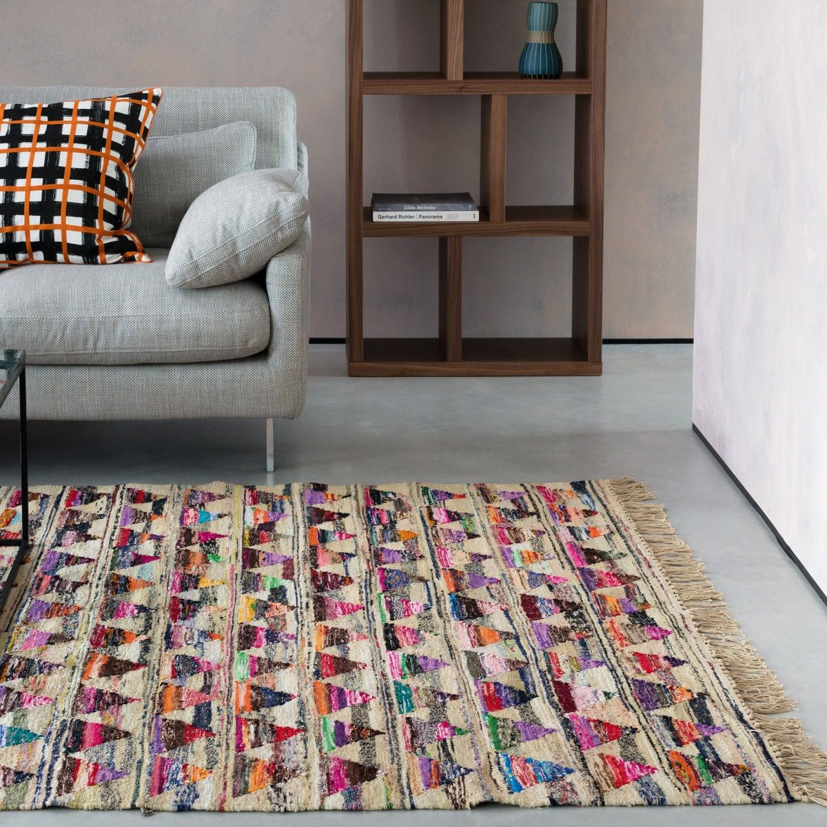 Keogh Large Multi Coloured Recycled Fabric Rug 170 X 240cm Fabric Rug Recycled Fabric Rugs