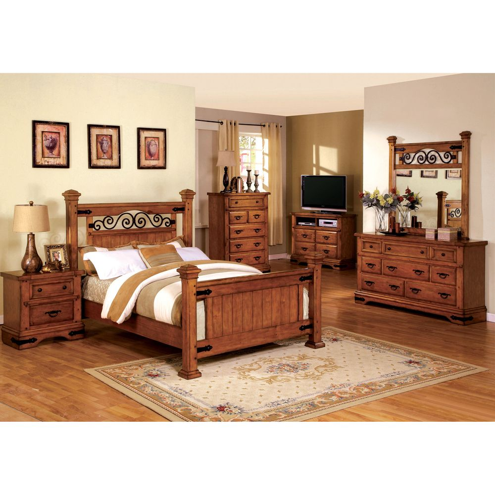 Furniture of America Marlo 4-Piece Country Style American Oak ...