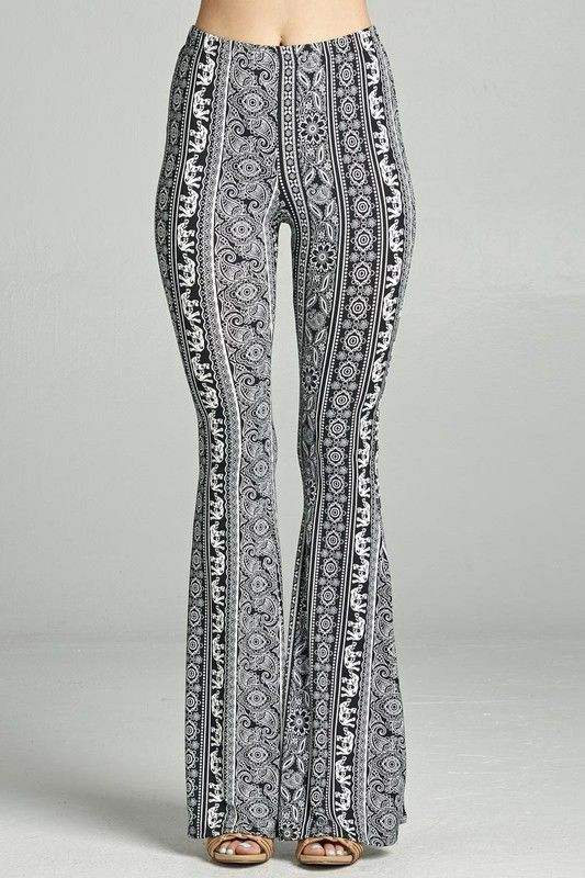 amazing selection variety styles of 2019 first rate Black and White Paisley Elephant Flare Pants | Fashion ...