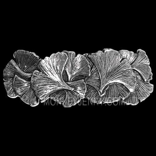 GINKGO-Oberon-Design-PEWTER-BARRETTE-Artisan-Jewelry-hair-clip-gingko-leaf-PB48