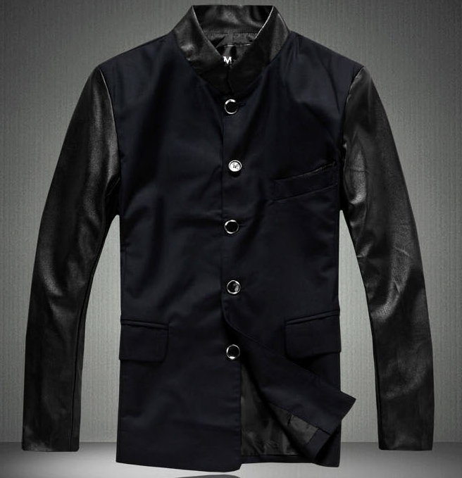 *Casual Leather Sleeves Sophisticated Blazer Jacket  | www.pilaeo.com #men's #luxury #fashion