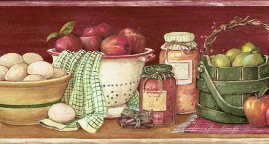 kitchen wallpaper Kitchen Shelf Burgundy Wallpaper Border