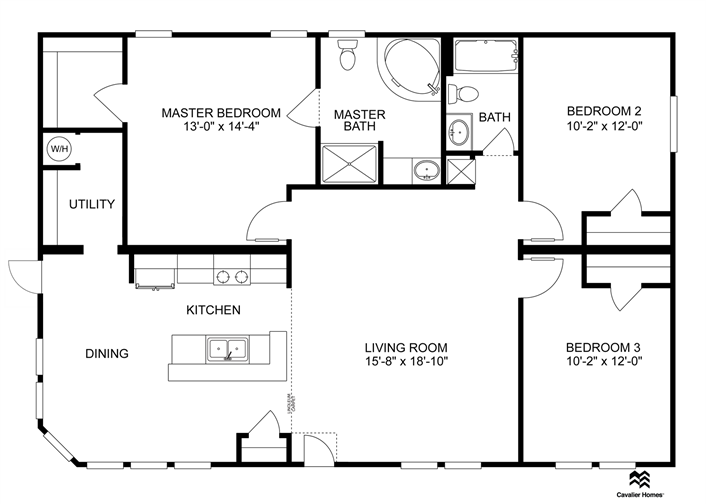 61 000 86 000 1320 Sq Ft 3 Beds 2 Baths Mobile Home Floor Plans House Floor Plans Clayton Homes