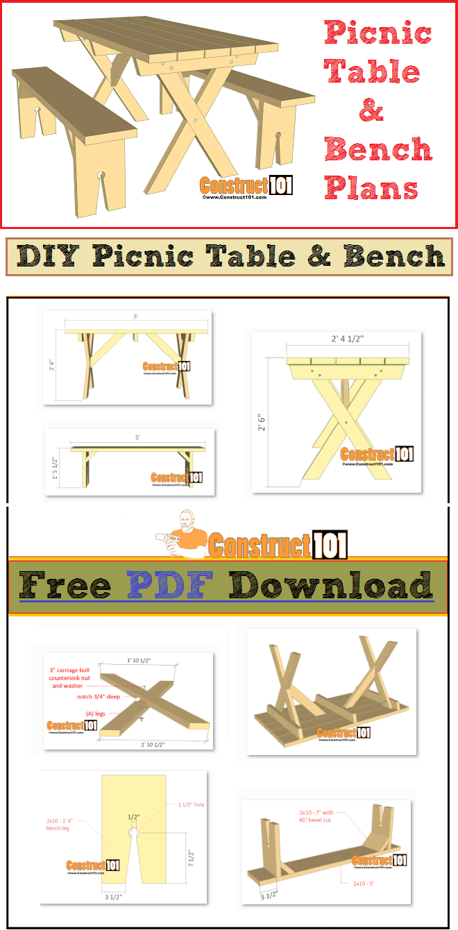 Picnic Table Plans Detached Benches Pdf Download Picnic Table