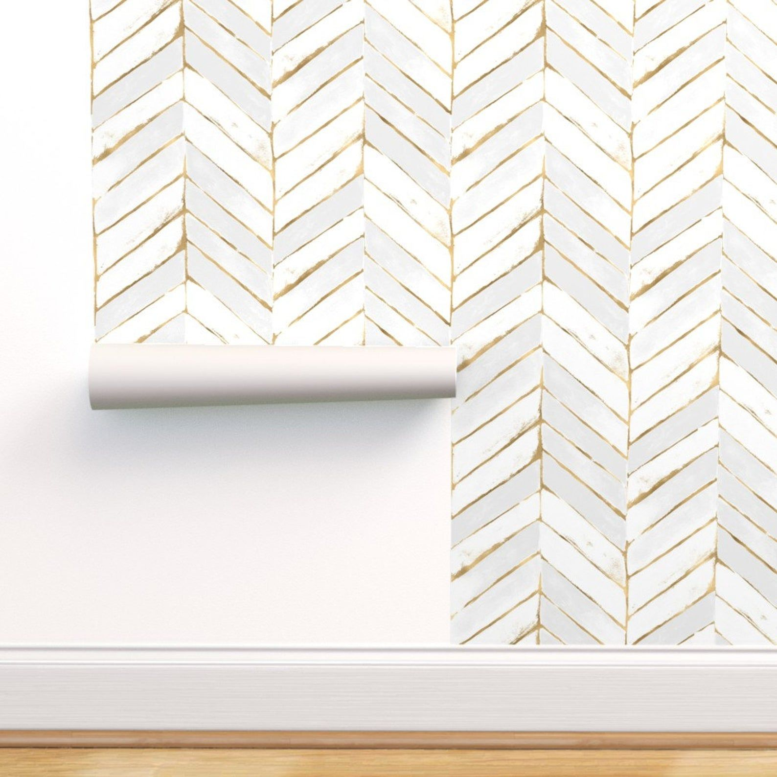 Chevron Wallpaper Chevron Painted White Gold L By Etsy Chevron Wallpaper Removable Wallpaper Self Adhesive Wallpaper