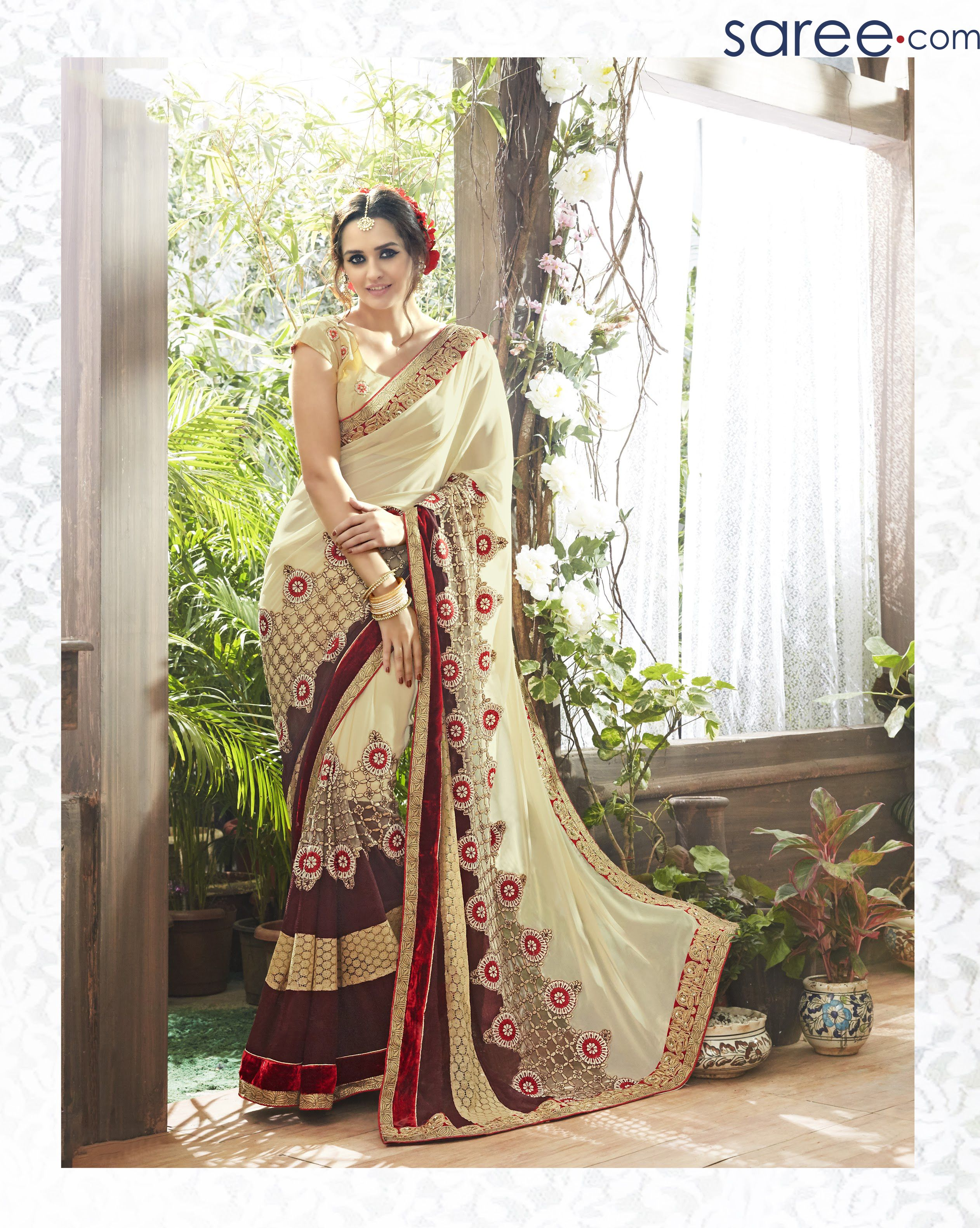 72919cd8590 CREAM AND MAGENTA FAUX GEORGETTE SAREE WITH EMBROIDERY WORK