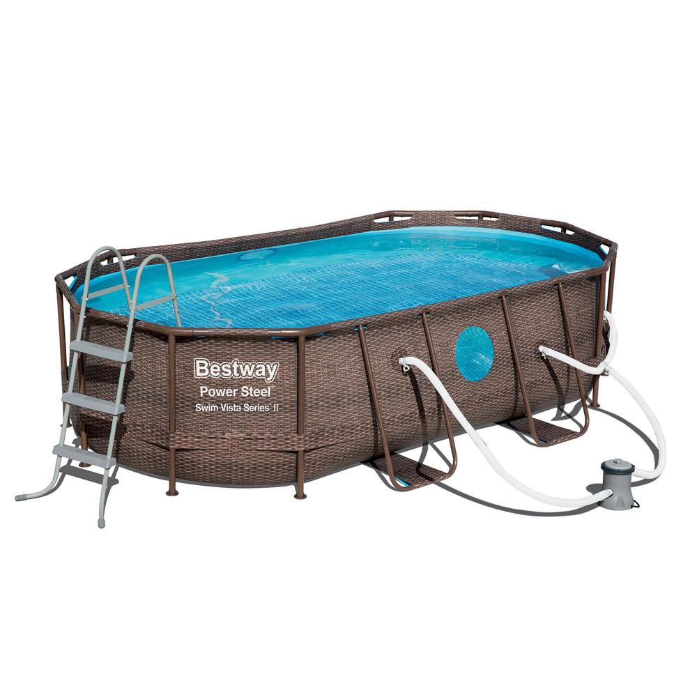 Bestway Bw 14 Ft X 8 Ft X 3 3 Ft Rectangle 36 In D Non Inflateable Pool Power Swim Vista Pool Set With Pump And Cleaning Kit 56715e Bw 58234e Bw The Hom