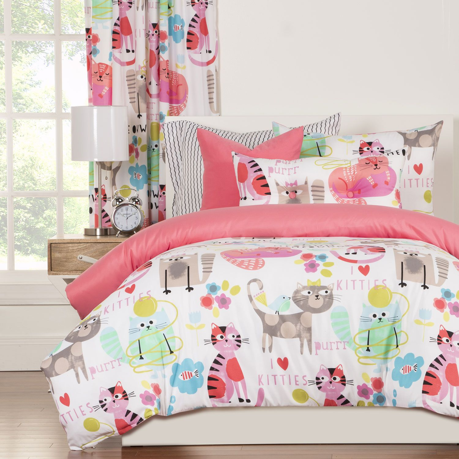 Funny Print Kitty Cat Comforter Set Twin Full X2f Queen Bedding Pink White Luxury Duvet Sets Duvet Sets Bright Bedding Sets