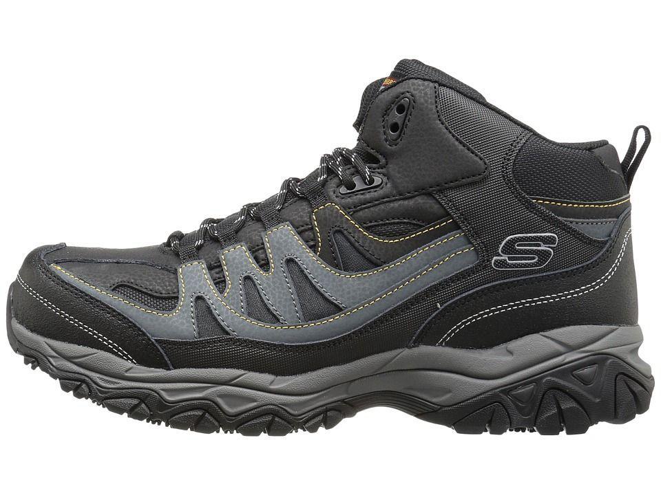 SKECHERS Work Holdredge - Rebem Men's Shoes Black Leather/Charcoal Trim