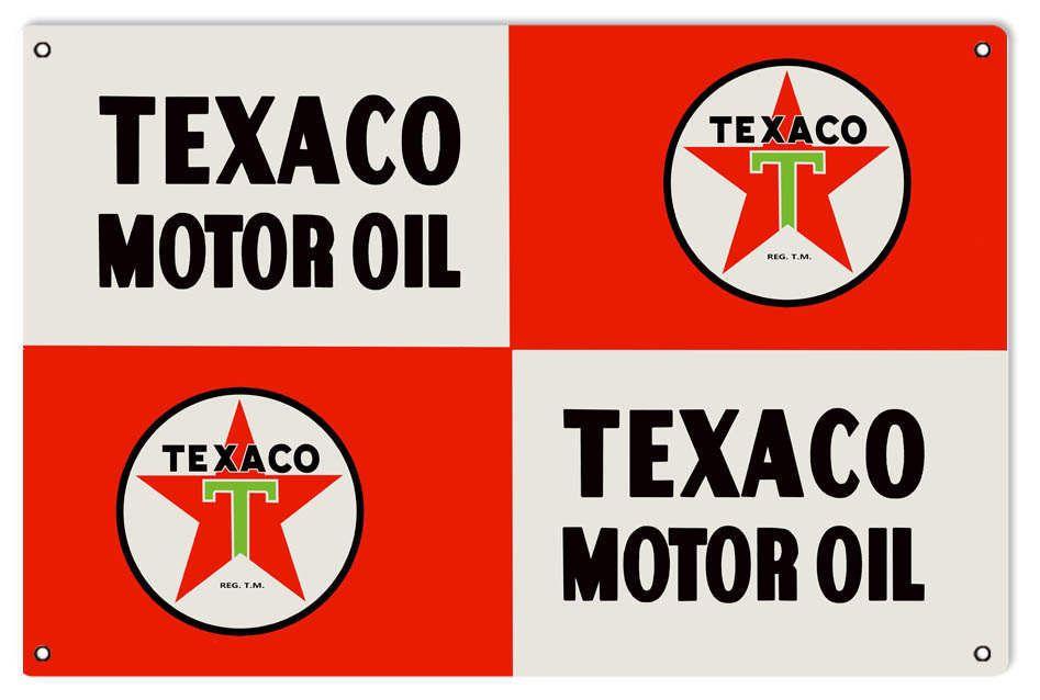 Texaco Motor Oil Sign, 16 x 24 inch .040 Gauge Metal, USA Made Vintage Style Retro Garage Art RG5033L by HomeDecorGarageArt on Etsy