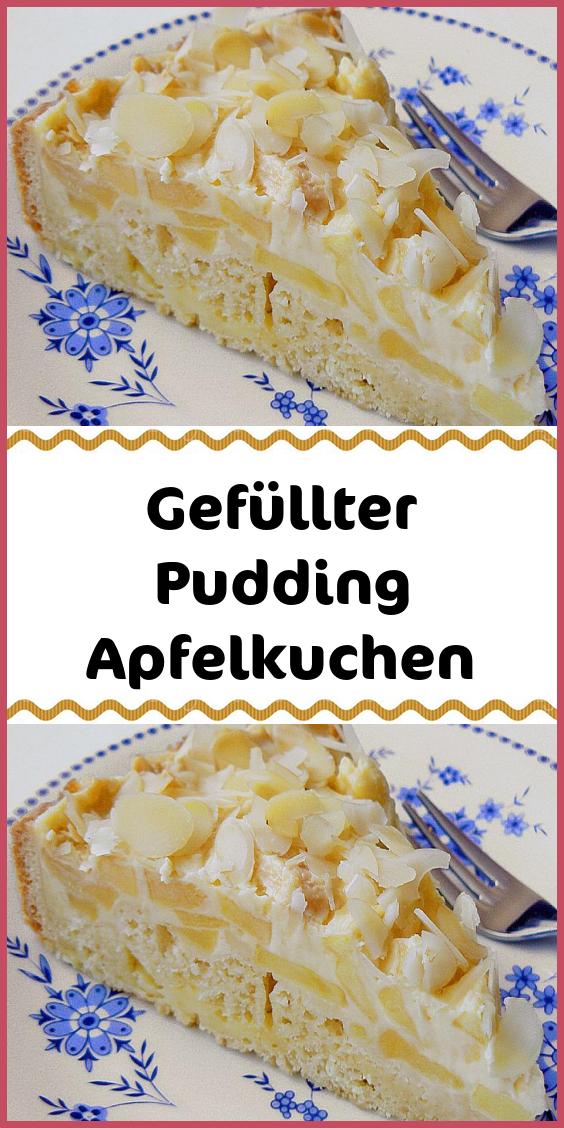 Gefüllter Pudding Apfelkuchen #essenundtrinken