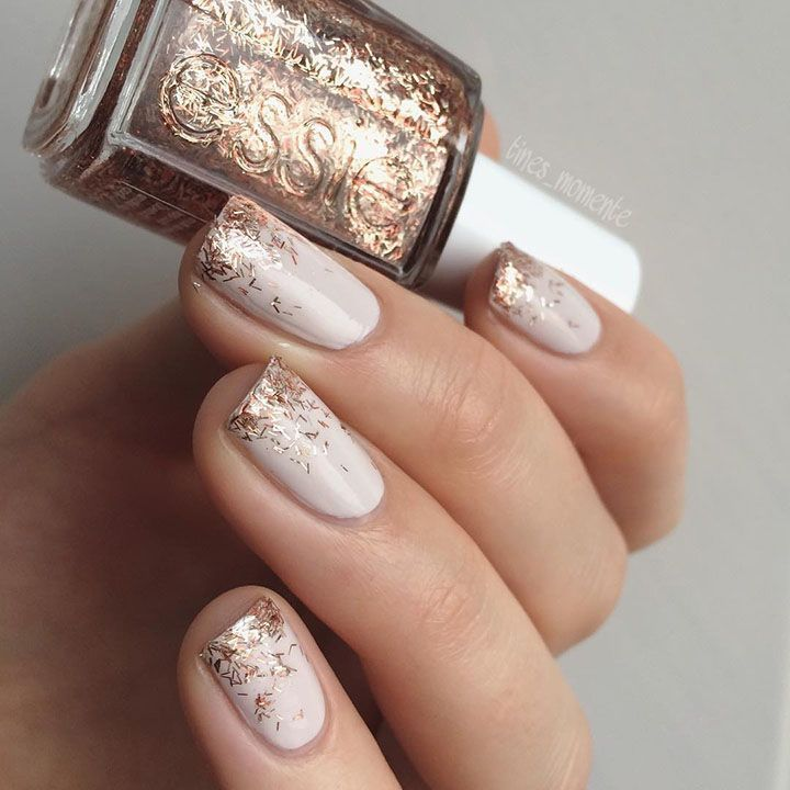 ivory nails with copper glitter tips | Beauty Nails | Pinterest ...
