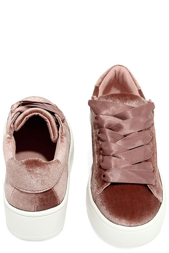 Girly and sporty style combine to form the Steve Madden Bertie-V Blush  Velvet Sneakers