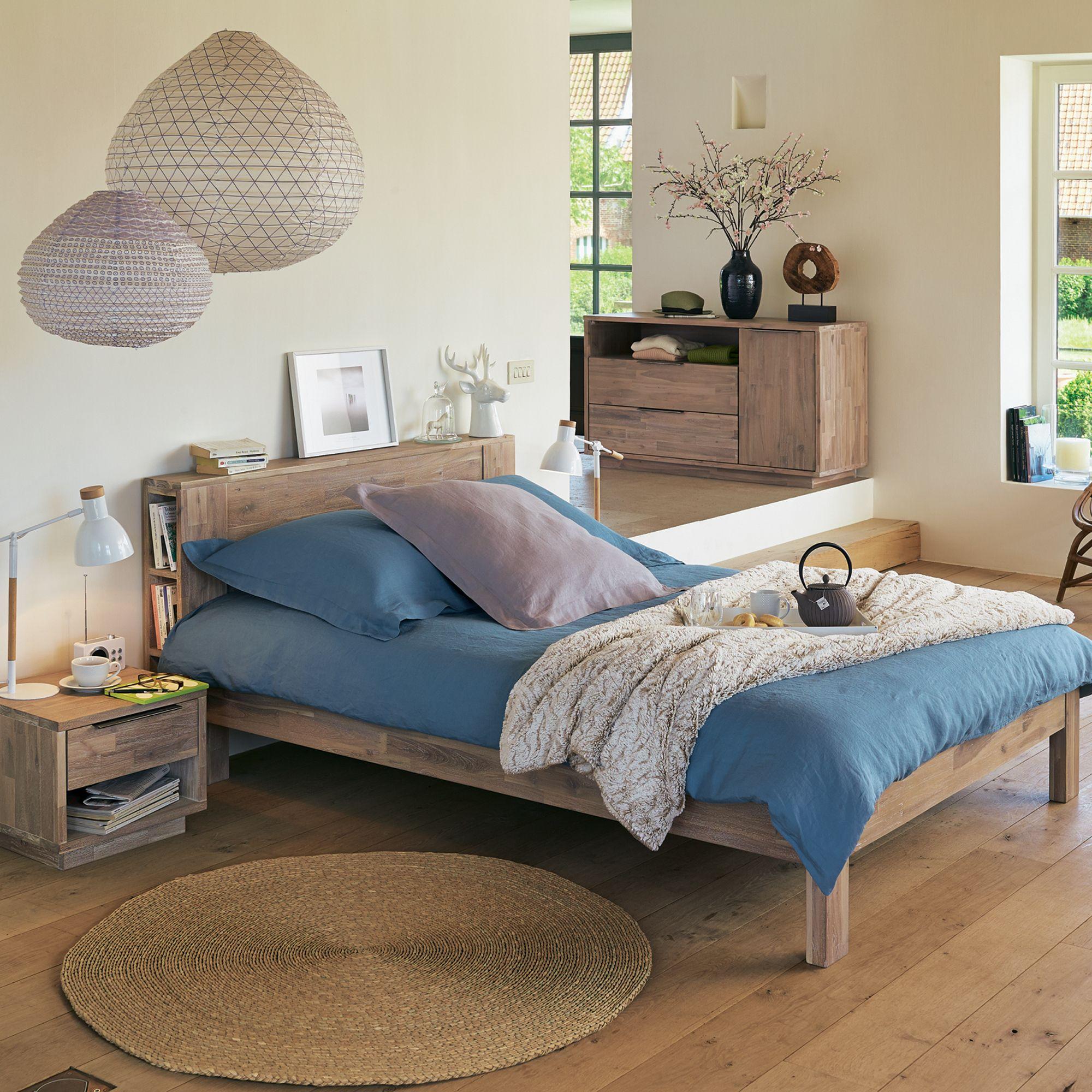 Montreal | Lit 2 places avec tête de lit en acacia - Alinéa