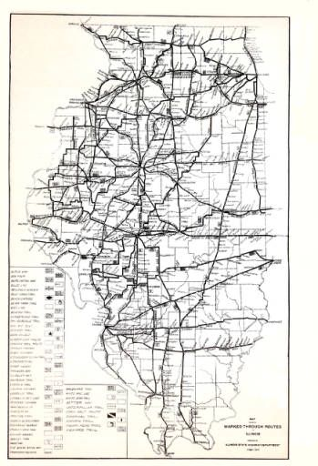 1917 Map Showing Marked Through Routes In Illinois ...