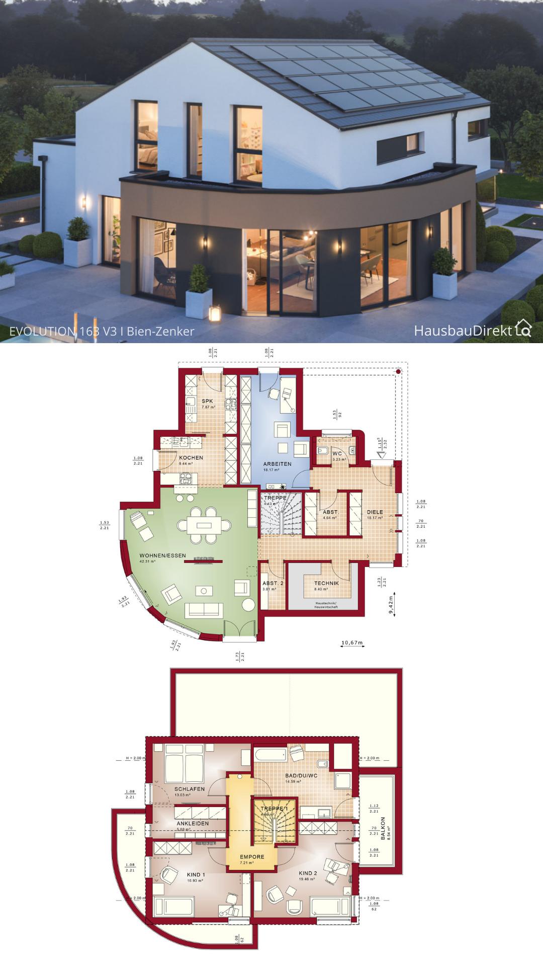 Moderner Einfamilienhaus Grundriss mit Satteldach & XL Erker bauen Haus Ideen 160 qm groß 5 Zimmer