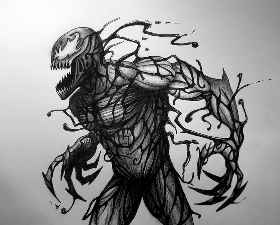 Carnage Symbiote Drawing With Pencil And Black Marker Carnage Symbiote Spiderman Drawing Marvel Characters Drawings
