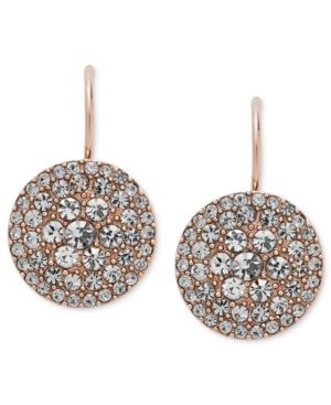 d5b32ef281b Fossil Earrings, Rose Gold-Tone Pave Disc Earrings | Style | Fossil ...