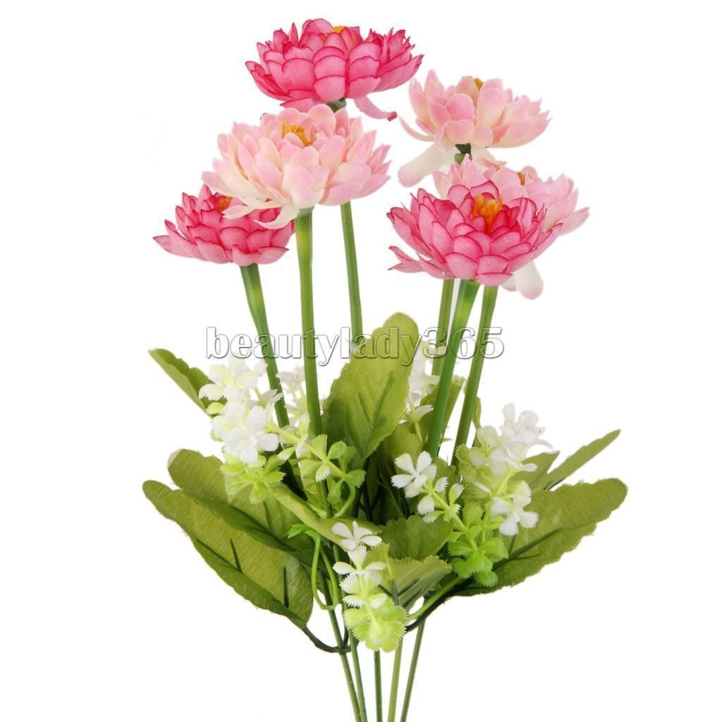 One bunch of artificial snow lotus silk flowers flower head with one bunch of artificial snow lotus silk flowers flower head with leaves mightylinksfo