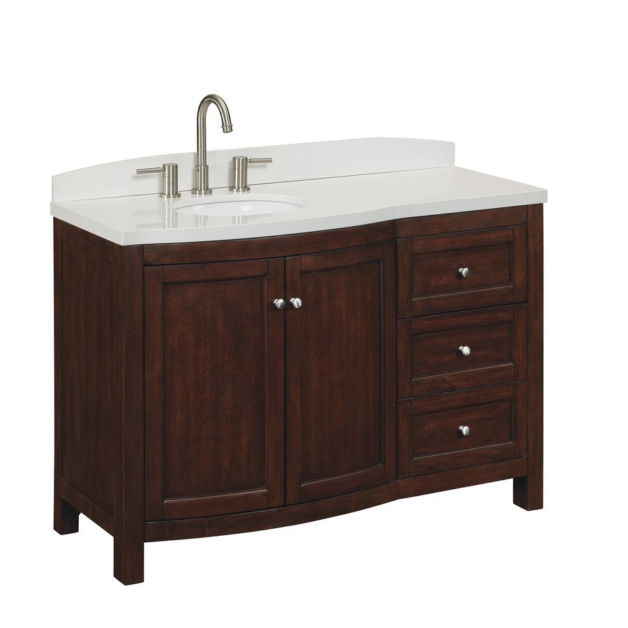 Shop Allen  Roth 48In Cherry Sable Moravia Single Sink Bathroom Interesting Bathroom Vanities At Lowes Decorating Inspiration