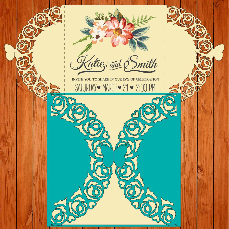 Invitación de la boda tarjeta plantilla, figuras, mariposas, rosas ...