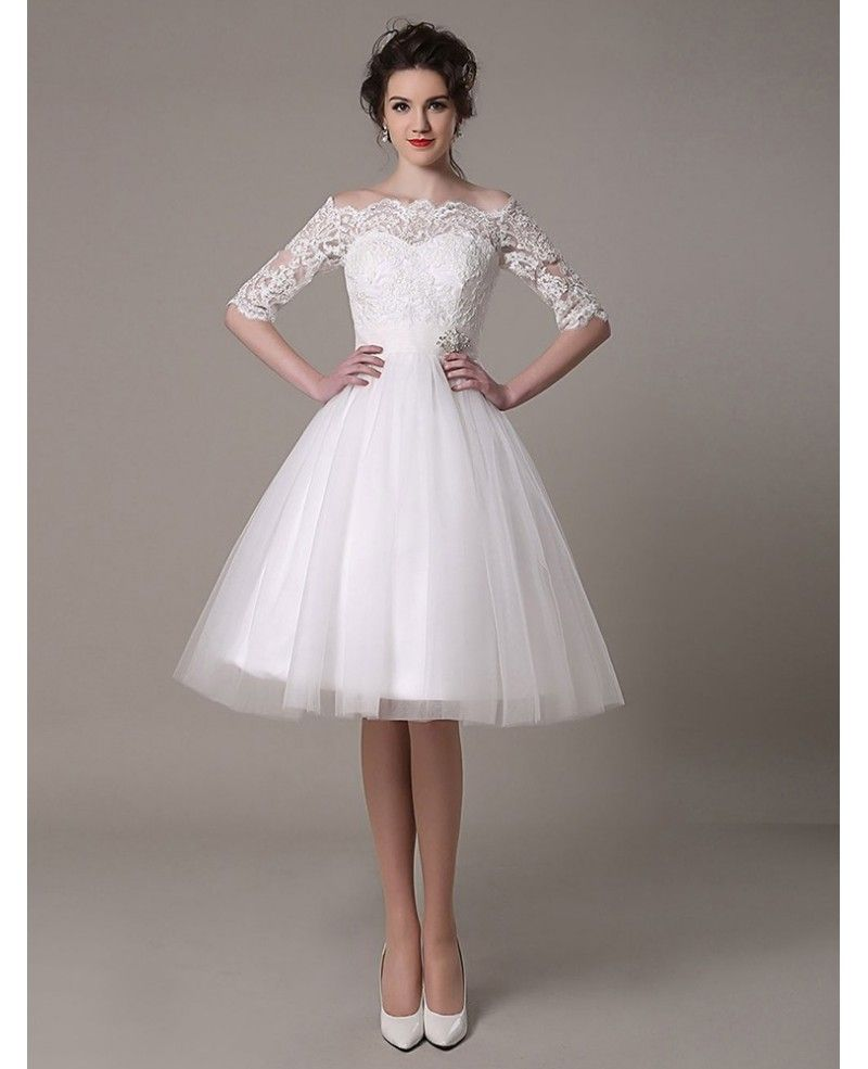 Vintage A Line Off The Shoulder Knee Length Tulle Wedding