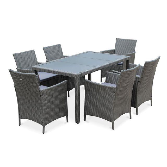 Salon de jardin Tavola gris en résine tressée, table d\'extérieur ...