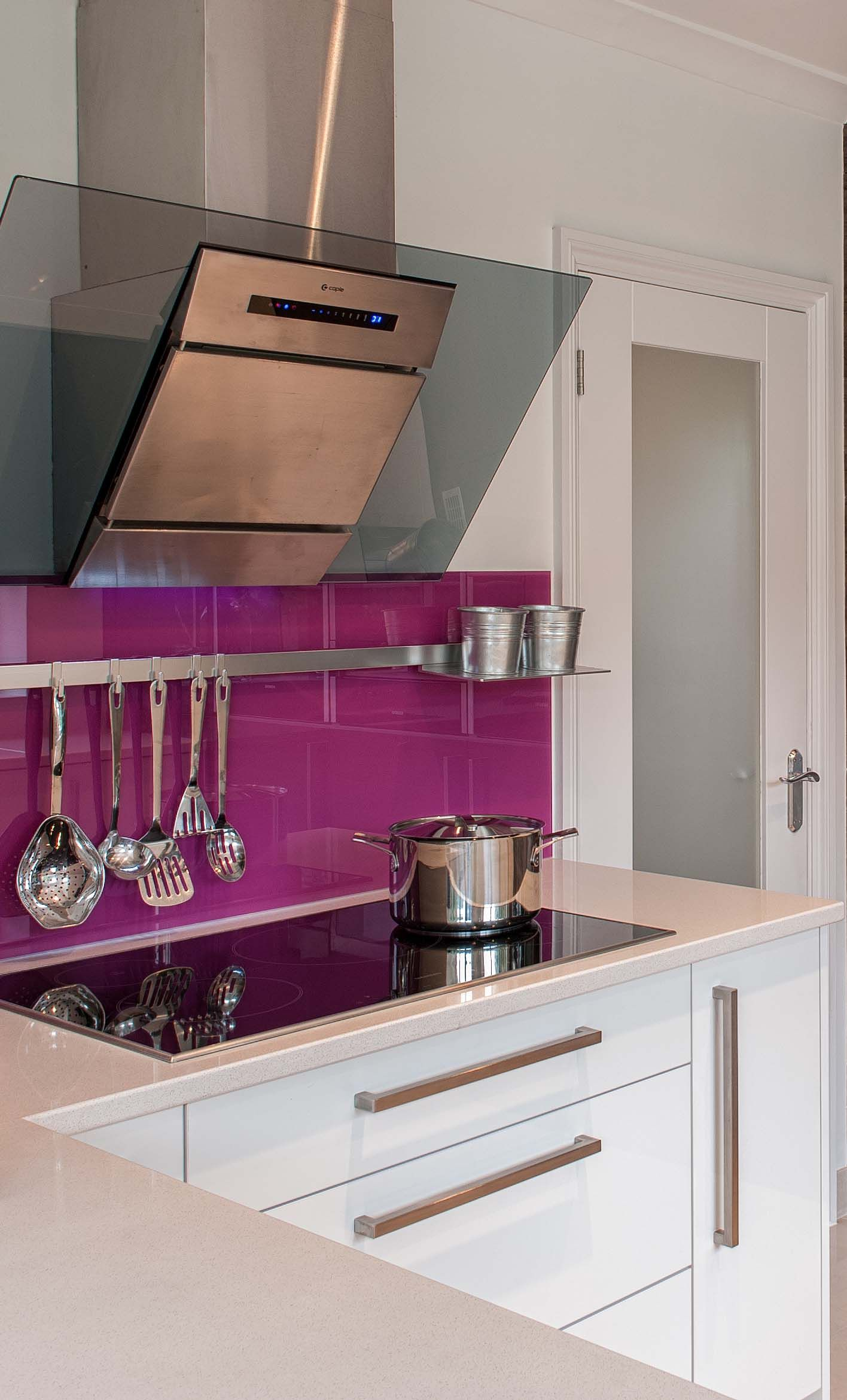 Hot Pink Backsplash Injects Colour Into A White Gloss Kitchen By Urban Myth