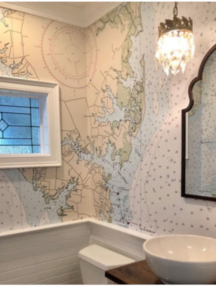 Nautical Chart Wallpaper With Wainscoting Tile Or Shiplap For Economy And A Custom Decor Nautical Wall Map Wallpaper Nautical Wallpaper