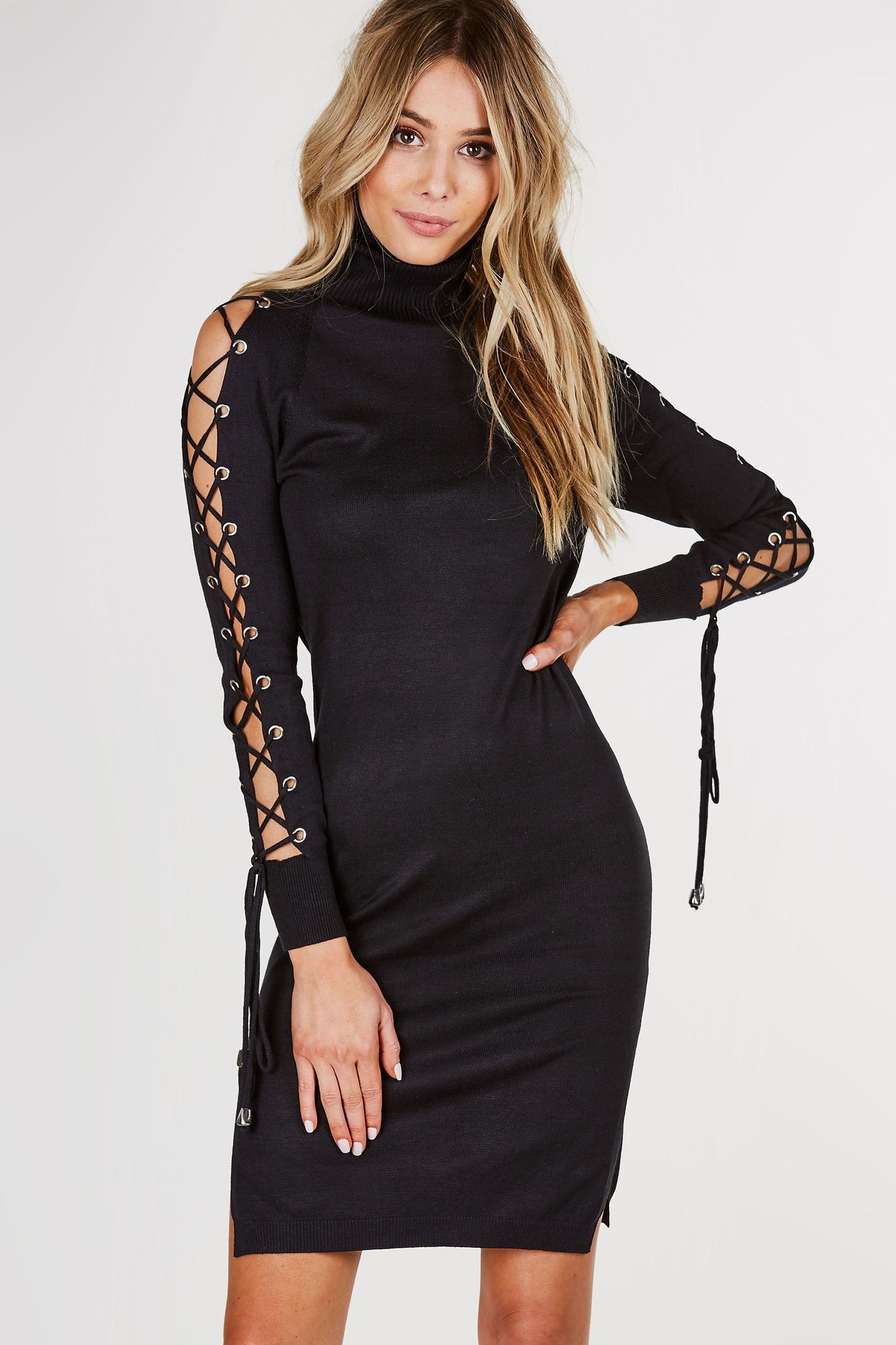 Turtleneck sweater dress with open long sleeves and lace up design