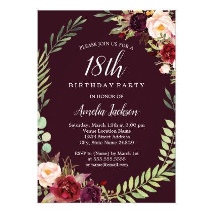Floral Wreath Burgundy 18th Birthday Invitation