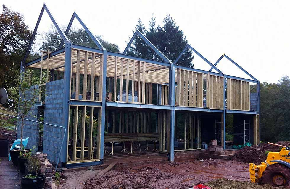 Erecting the steel frame disegni pinterest steel Steel frame homes