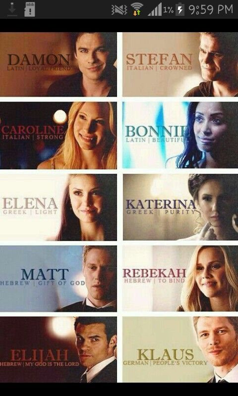 Meaning and origin of tvd characters name | Vampire diaries